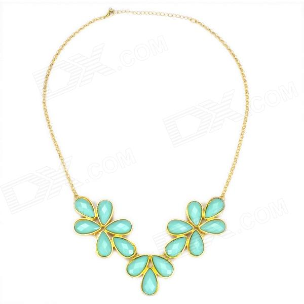 EQute PPEW18C5 Elegant Blue Turquoise Leaf Shaped Drop Pendant Necklace (20 Chain) new arrival french empire chain pendant light aluminum post chain vintage hanging lamp drop lustre for hotel project home deco