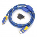2-in-1 1080P HD HDMI Male to Male Cable w/ Mini HDMI + Micro HDMI ADapter - Blue + Yellow (150cm)