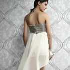 DEAR-LOVER LC6153-1L Women Sexy Charming Boulevard Sequined Long Cocktail Dress - Beige + Golden