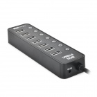 Super Speed ​​8 portas USB 3.0 Hub w / switch Independente - Preto