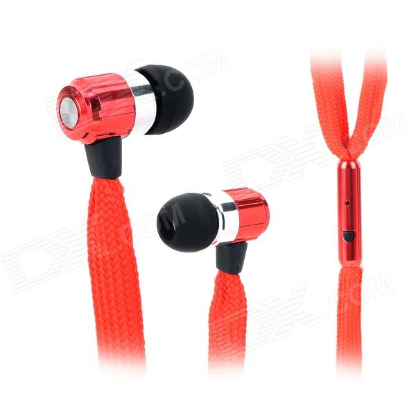 Universal Shoelace Style Fashion In-Ear Earphones w/ Microphone for Iphone 4 / 4s - Red cute cat s claw style fashion in ear earphones pink 3 5mm plug 115cm