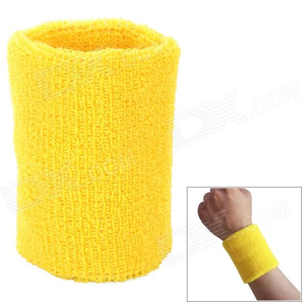 Outdoor Sports Cotton Wrist Band for Badminton / Football / Basketball - Yellow