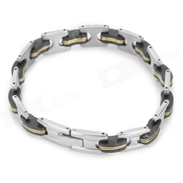 SHIYING SLX000074 316L Stainless Steel Bracelet for Men - Black + Silver + Multicolored shiying men s fashion 316l stainless steel split leather bracelet black silver