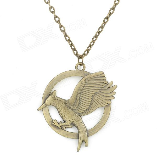 UBE UTY 7024 Retro Bird Shaped Pendant Necklace - Brass old antique bronze doctor who theme quartz pendant pocket watch with chain necklace free shipping