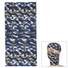 LL-1215 Outdoor Multifunction Seamless Polyester Fiber Headscarf - White + Blue