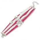 UBE UTY 8017 Heart Style Braided Leather + Wax Cord Bracelet - White + Red + Silver
