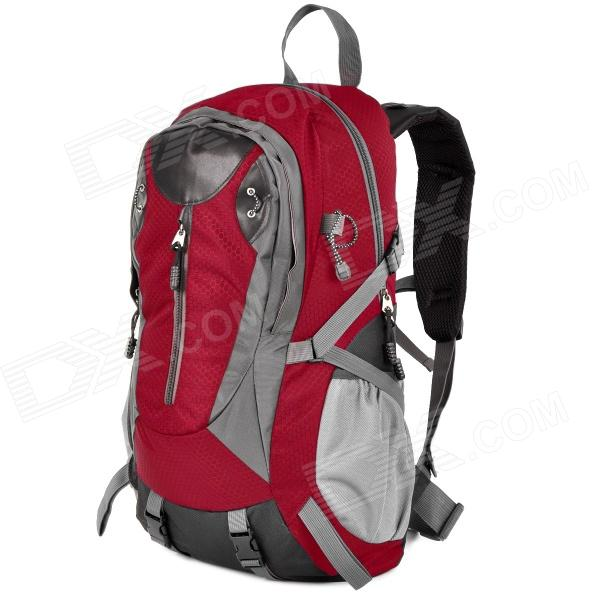 Creeper 3912 Professional Outdoor Mountaineer Travel Nylon Backpack - Red + Grey (40L)