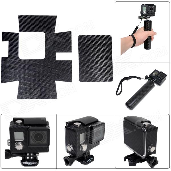 Proteção + Fibra de Carbono Estilo Fat Cat A-CS3 Etiqueta para Gopro Hero3 + Waterproof Case - Preto