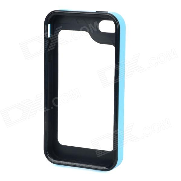 S-What Detachable Protective Silicone + PC Bumper Case for Iphone 4 / 4s - Blue + Black