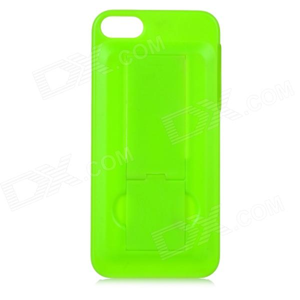 Protective Plastic Back Case w/ Stand for iPhone 5 / 5S - Green protective plastic silicone back case w stand for iphone 5c army green
