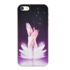 Relief Beautiful Hands Style Protective PC Back Case for Iphone 5 / 5s - Purple + Transparent