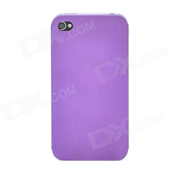 Protective Titanium Alloy Back Case for Iphone 4 / 4s - Purple small holes style protective pe back case for htc one x s720e purple