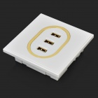 Porte-chargeur mural 3 ports USB - Blanc