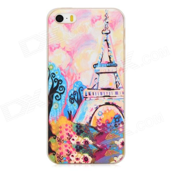 Relief Eiffel Tower Watercolor Painting Style Protective PC Back Case for Iphone 5 / 5s - Multicolor