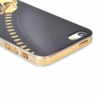 Alívio Zipper Estilo protetora PC volta Case para o iPhone 5 / 5s - preto + Ouro + Transparent
