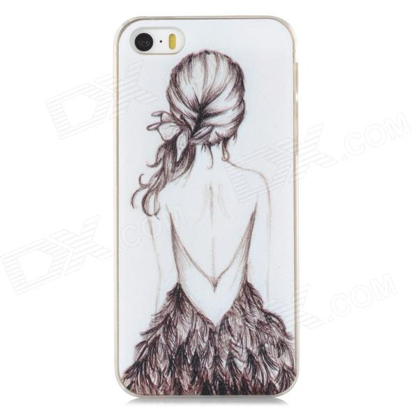 Relief Beautiful Girl\'s Back Style Protective PC Back Case for Iphone 5 / 5s - White + Transparent