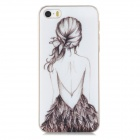 Relief Beautiful Girl's Back Style Protective PC Back Case for Iphone 5 / 5s - White + Transparent