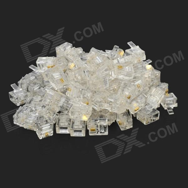 RJ11 6P2C 2-Core Crystal Connectors for Telephone Line - Transparent (100 PCS)