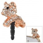 Cute Puppy Ornament Crystal Inlaid 3.5mm Jack Dust-proof Plug for Cellphone - Golden + White