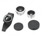 LX-P301 clip Fisheye + grand angle + macro pour iPhone 4 / 4S / 5 / Samsung i9300 - Argent