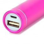 Cylinder Shaped Mobile Power Bank w/ Charging Cable for Iphone 4 / 4s / 5c / 5 / 5s - Deep Pink
