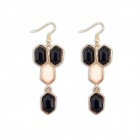 Fashionable Delicate All-match Water-drop Style Zinc Alloy + Resin Women's Earrings - Black + Beige