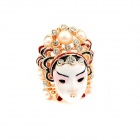 Fashionable Mask Style Zinc Alloy + Rhinestone Women's Ring - White + Golden