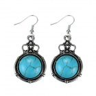 EQute EPEW22H1 Fashionable Vintage Turquoise Dangle Earrings - Green + Silver (Pair)
