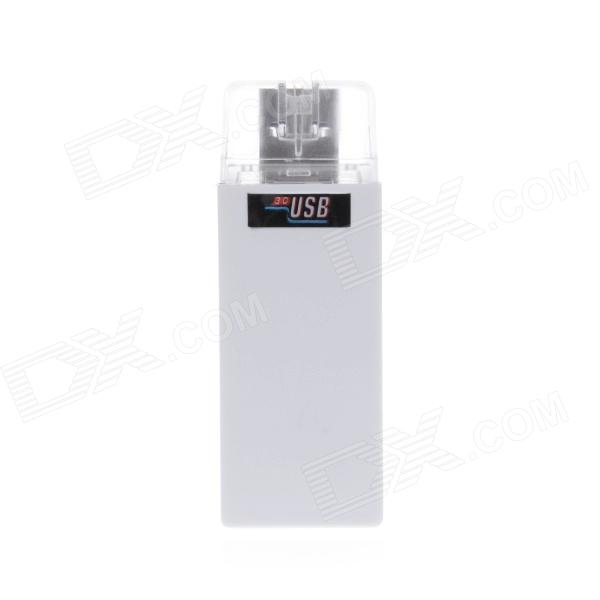 USB 3.0 SD / Micro SD / MMC Card Reader & Writer w/ LED Indicator - White (SDXC Up To 64GB) ssk scrm056 usb 3 0 5gbps high speed multifunctional card reader white silver grey max 64gb