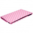 Stylish Polka Dot Pattern 360' Rotation PU Leather Case Cover Stand for Ipad AIR - Deep Pink + White