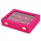 Fashion Flannelette Visible Window Pendant Jewel Storage Box - Deep Pink