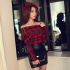 HX2323 Fashion Plush Off Shoulder Collar skotske Plaid Pattern langermet T-skjorte - Rød + Svart