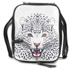t431 Fashion Leopard Head Pattern PU Leather Backpack - Black + White