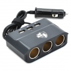 OLINTON AT2910 180W~360W 1-to-3 Car Charger to 3 Car Cigarette Lighter + 3 USB Output - Black