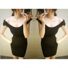 HX2321HX Sexy Plush Off Shoulder Collar Brocade Dress - Black