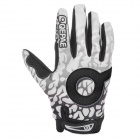QEPAE F7506 Motorcycle Bicycle Anti-Slip Breathable Full-Finger Gloves - Black + White (XL / Pair)