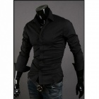 5922 Fashionable Men's Long Sleeve Slim Fit Shirt - Black (Size XXL)