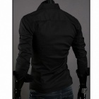 5922 Fashionable Men's Long Sleeve Slim Fit Shirt - Black (Size XL)