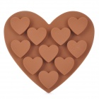 10-Hole Heart Shaped Silicone Cake / Bread / Ice Cube Mold - Coffee