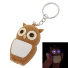 Owl Doll LED Keychain - Yellow Brown + White (3 x AG10)