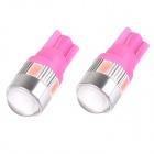 T10 3W 144lm 6 x SMD 5630 LED Pink Car Signal Light w/ Lens - (DC 12V / 2 PCS)