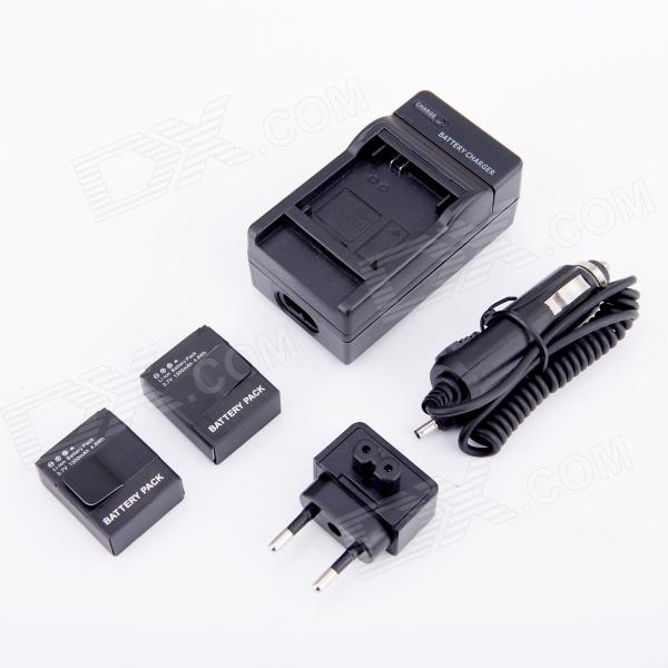 SMJ AHDBT-301 1300mAh Battery + EU Plug Power Adapter + Car Charger for GoPro HD Hero 3/3+ - Black