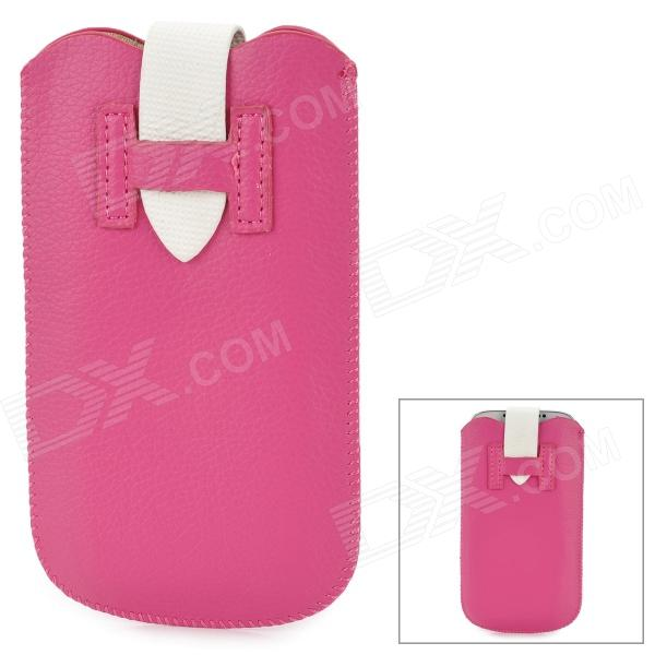 H Shaped Protective PU Bag for Samsung S4 i9300 - Deep Pink