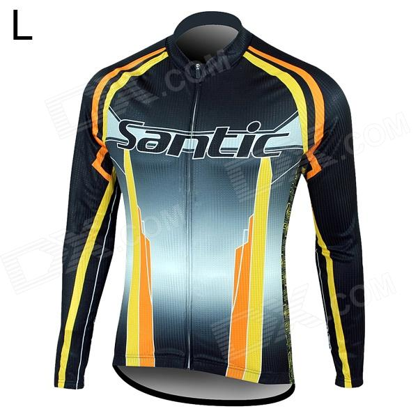 Santic MC01035 Bicycle Cycling Fleeces Long Sleeves Jersey - Black + Yellow (L) veobike men long sleeves hooded waterproof windbreak sunscreen outdoor sport raincoat bike jersey bicycle cycling jacket