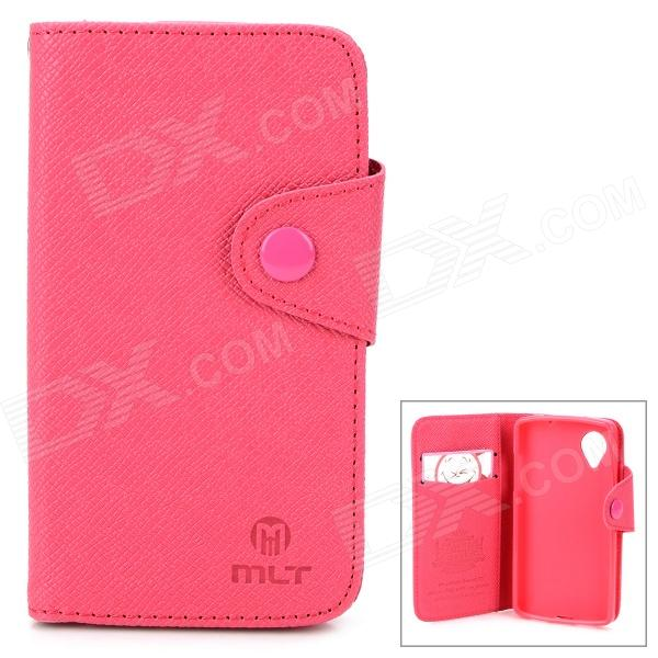 Protective PU + TPU Flip-Open Case w/ Stand + Strap for LG Nexus 5 - Deep Pink stylish protective flip open pu tpu case w stand for lg g3 pink