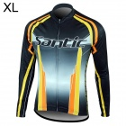 Santic MC01035 Bicycle Cycling Fleeces Long Sleeves Jersey for Men - Black + Yellow (XL)