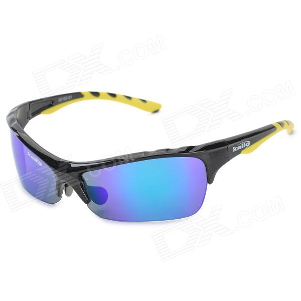 KLLO 99150 Outdoor Multi-Function Sports UV400 Protection Blue Lens Sunglasses - Black reedoon f207 radiation blue ray protection tr90 frame resin lens gaming glasses black blue