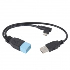 Micro 5 Pin USB OTG Data / Charging Connection Cable for Samsung - Black + Blue (10cm / 27cm)