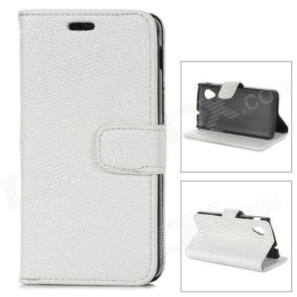 Protective Lichee Pattern PU Leather Case for Google Nexus 5 - White lichee pattern protective 2 fold pu leather case for google nexus 7 generation ii