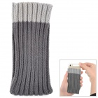 Protective Socks Style Knitting Cover Pouch for Iphone + Samsung + More - Deep Grey + Grey